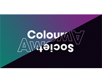 A composite image of the Colours Awards and Society Awards logos split in half diagonally.