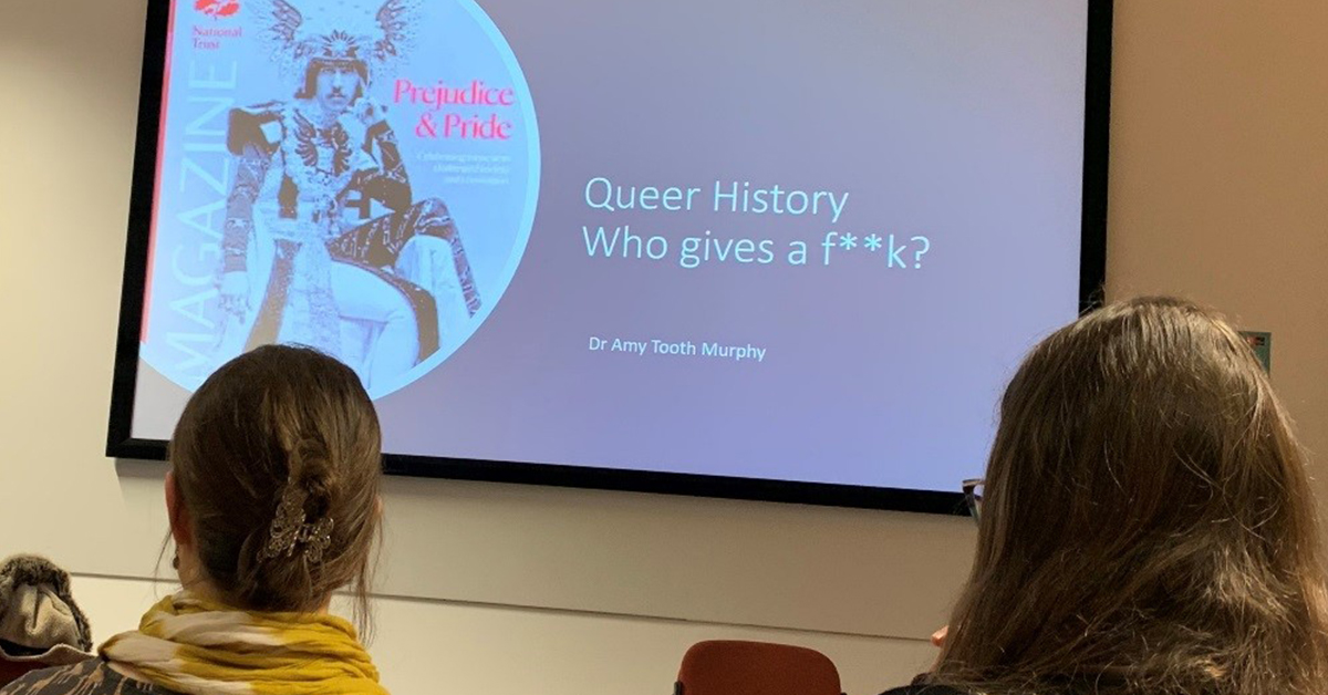 image of the presentation being conducted by Dr Amy Tooth Murphy at the workshop on Queer Histories